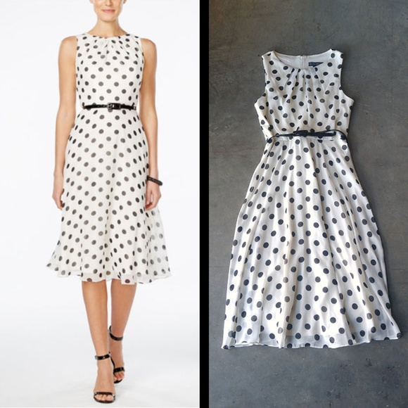 7eaf4cc7ab727 Jessica Howard Dresses & Skirts - Jessica Howard Belted Polka Dot A-Line  Midi Dress